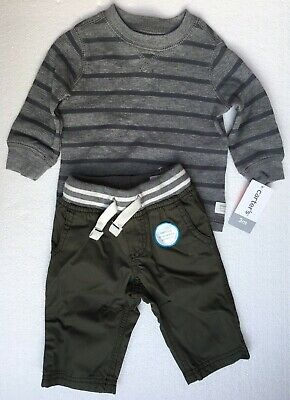 Nwt Carters Baby Boy Clothes 3 Months 2 Piece Stripes Shirt Pants Outfit Set