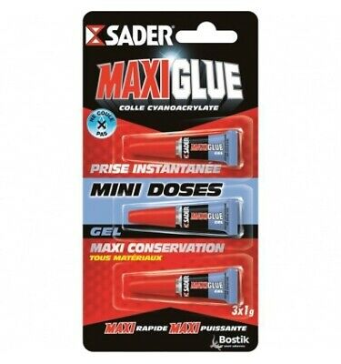 SADER Maxiglue Colle Instantanee Cyano Tous Usages - 3 x 1g
