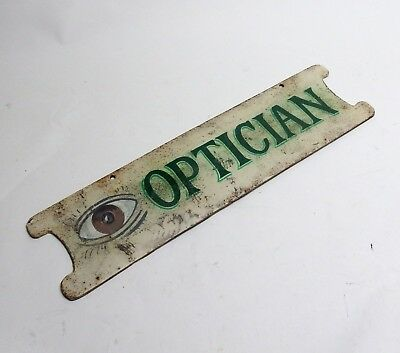 "Antique 24"" Heavy Cast Iron Optician Optometry Double-Sided Sign EXC COND!"
