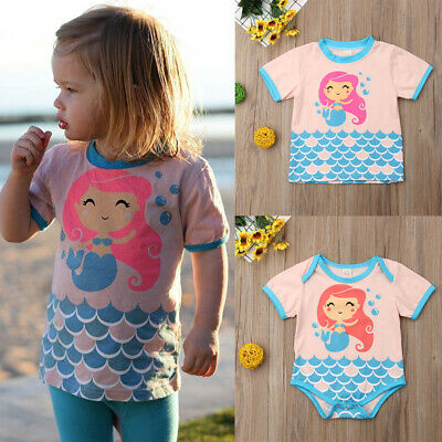 Mermaid Little Sister Baby Girl Romper Big Sister T-shirt Tops Matching Outfits