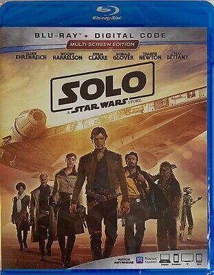 SOLO ~ A STAR WARS STORY ~ Blu-Ray + Digital Code *New *Factory Sealed