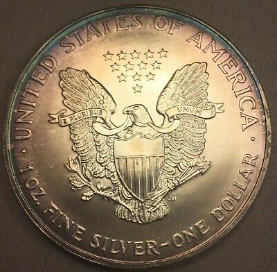 2000 - US Silver American Eagle - 1 oz Coin Deep Purple Toning Toned