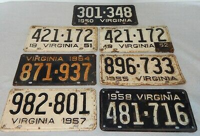 1950's Virginia License Plate Lot 1951 Matching 1950,51,54,55,57,58