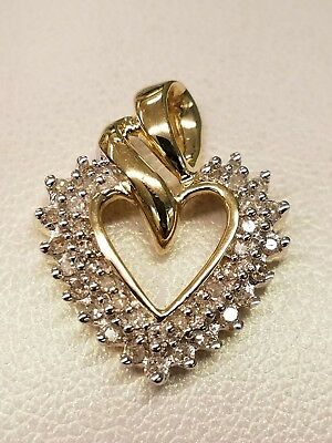 New Solid 14K Yellow Gold Heart Pendant With 37 Round Natural Diamonds