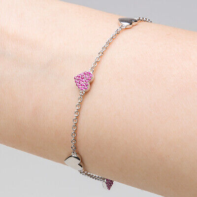 NEW Whitehill Sterling Silver Bracelet Red Stones/Plain Heart