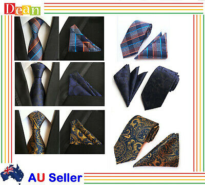 Men Business Formal Floral Paisley Wedding Tie & Pocket Square Handkerchief Set