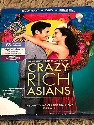 Crazy Rich Asians (Blu-ray/DVD/Digital, 2018) NEW! with Slipcover