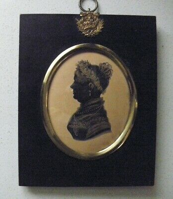 Antique Bronzed Silhouette of a Lady from I.Hallam Studio