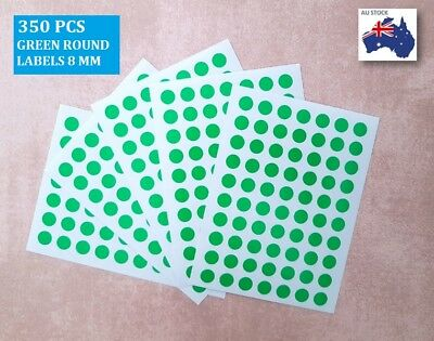 350 Pcs Round Stickers Circle Dots Spots Colour Code Small Green 8mm