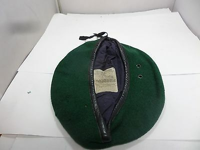 Old German Green Beret Made By Schmidt Hartlieb Size 59 Leather Trim