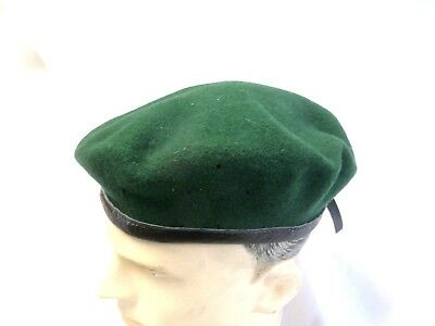 Old German Green Beret Made By Schmidt Hartlieb Size 58 Leather Trim
