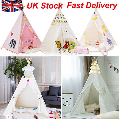 New Teepee Kids Play Tent Large 100% Cotton Wigwam Outdoor Toy Birthday Gifts UK