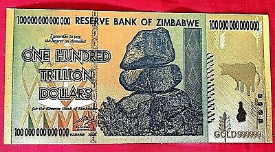 Zimbabwe 100 Trillion Dollars Coloured 24K Gold  Banknote 2008 Banknote