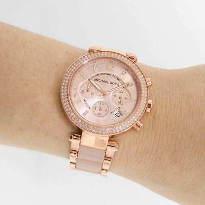 NEW Michael Kors MK5896 Parker Ladies Watch Blush Dial Rose Gold 39MM