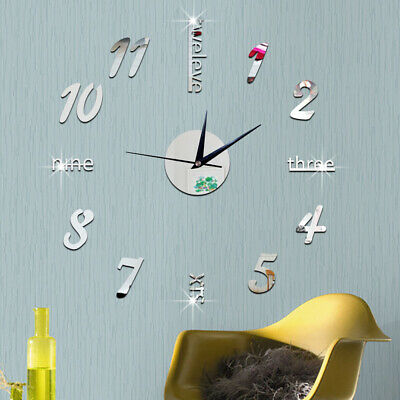 Wall Clock Watch Large Modern Simple DIY Sticker Decal 3D Roman Numeral Home GYM