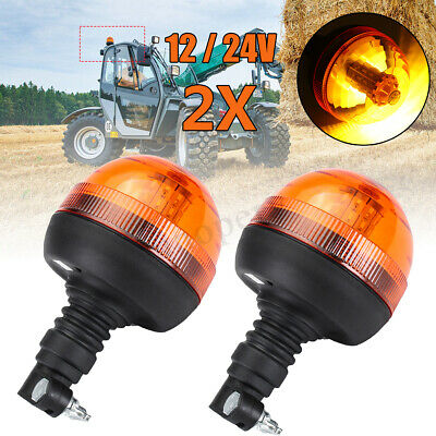 2x LED Amber Rotating Flash Beacon Flexible DIN Pole Mount Tractor Warning Light