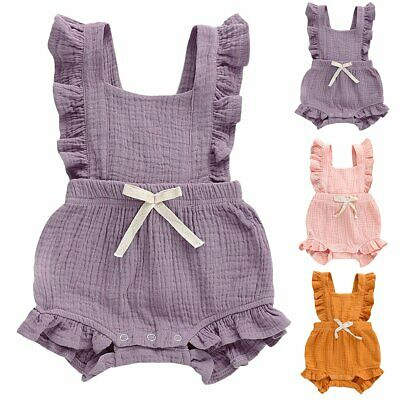 Newborn Baby Girl Ruffle Solid Color Romper Bodysuit Jumpsuit Outfits Sunsuit