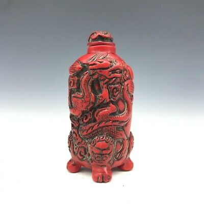 In ancient China, hand-carved artificial red coral dragon snuff bottle shape9601
