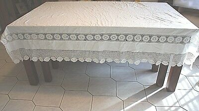 HUGE WHITE COTTON VINTAGE TOP SHEET OR BED COVER WITH LACE PANELS 485cm x 214cm