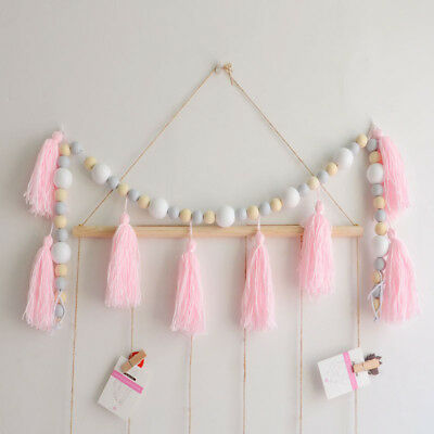 Home Wooden Beads String With Tassel DIY Tent Wall Hanging Car Baby Room Decor