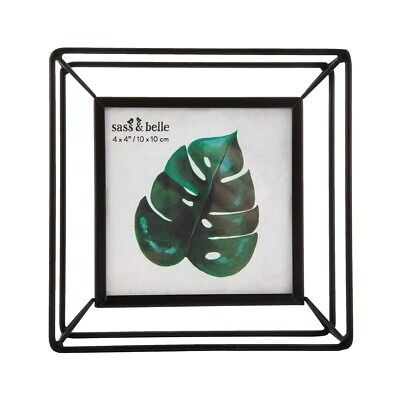 Square Black Metal Photo Frame Standing Picture Decor Geometric Clear Glass