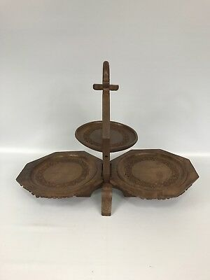 "Vintage Folding 3 Tier Wood Wooden Cake Stand - Ornate Hand Carving - 12"" High"