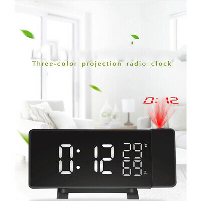 Curved LED Snooze Alarm Clock Dimmer FM Radio Projection Sleep Timer Projector