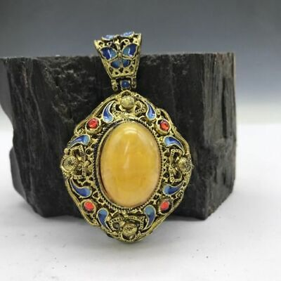 Collection of Chinese Cloisonne pendant inlaid with artificial gemstones.   b780