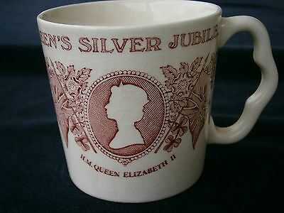Queen's Royal Silver Jubilee commemoration pink Mug, by Mason's