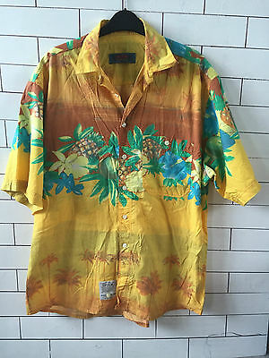 Vintage Retro Hawaiian Ibiza Bright Bold Urban Festival Shirt Mens Uk 42 #13