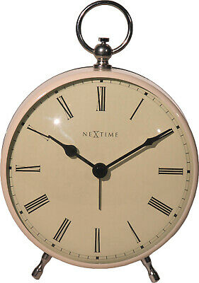 Nextime Retro Metal Alarm Clock Charles Silent Nostalgiewecker Table Clock,Cream