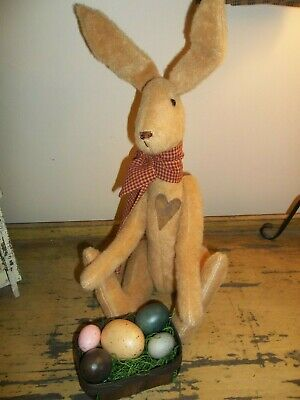 Primitive Raggedy Spring Easter Bunny Rabbit Doll W/egg Basket