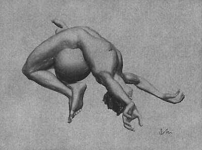 ORIGINAL NUDE MALE FIGURE  6x8 MIXED MEDIA ON CHARCOAL TONED PAPER DRAWING