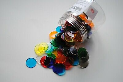 Transparent Colour Round Counters 100p - Maths  - Games - Educational - Numeracy