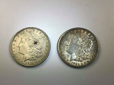 Two (2)1921 Morgan Silver Dollars - in AU+ Condition