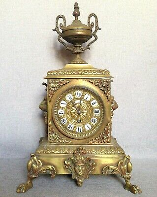 Antique french clock made of bronze 19th century lion Empire style signed