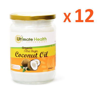 Coconut oil Organic extra virgin cold pressed, pure, raw 12 X 500ml in glass jar