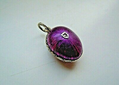 old Russian K. Faberge design 84 SILVER Enamel EGG Pendant with real DIAMOND