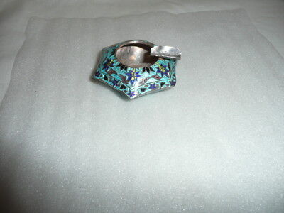 Rare multi colour enamel small solid silver ash-tray,cloisonne work,stamped,925.