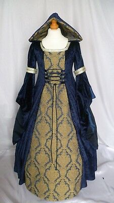 Girls Medieval Dress Renaissance Hooded Gown Custom made from age 7 to 8 yrs