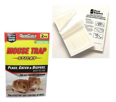 quick Strong & Sticky Rat, Mouse Mice Glue Board Mat Traps 2 Glue Mats Per Pack