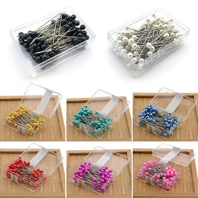 100pcs Glass Pearl Head Quilting Pins Colorful Craft Sewing Needles Dressmaking