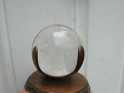 Antique Mineral Rock Crystal Sphere Paperweight w Arts and Crafts Copper Mounts