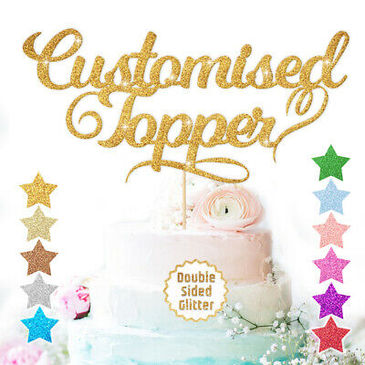 Personalised Custom Cake Topper Any Word Name Customised Double Sided Glitter