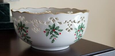 "Vintage Lenox Holiday Fine China 6"" Pierced Serving Bowl, Dimensions Pattern/usa"