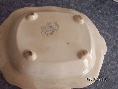 Asiatic Pheasants serving dish blue and white w/stamp on bottom OLD VTG
