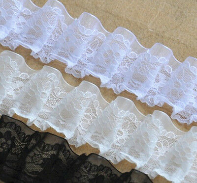 """2Yds White Floral Lace Trim Embroidered Tulle Lace Trim Wedding Dress 1.57""""Width"""