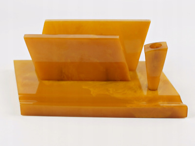 Art Deco Amber Color Bakelite Catalin Desk Set  603 grams tested