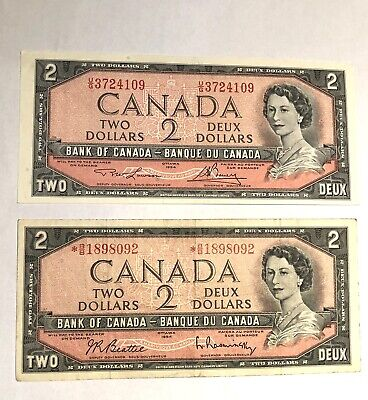 Pair, replacement  and normal  1954  $2 Notes Bank of Canada