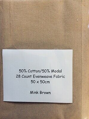 28 Count Evenweave Embroidery Fabric, Mink, 50 x 50 cm